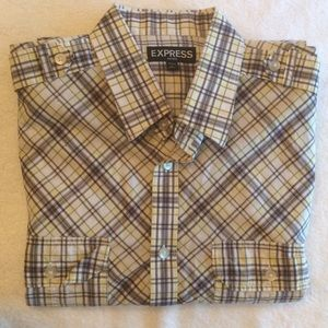 Express Gray Plaid Button Down Shirt Large 16-16.5